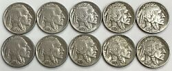 10 1937 -d United States Buffalo Nickel Coin Full Horn Lot Condition Xf+