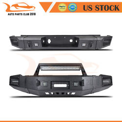 Powder Coated Front Rear Bumper Guard With Lights For 07-13 Chevy Silverado 1500
