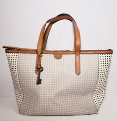 Fossil Women#x27;s Gray White Leather Trim Tote Shopper Handbag $50.00
