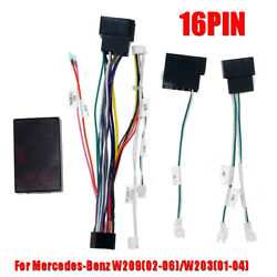 16pin Car Android Audio Wiring Harness W/canbus For Benz W20902-06/w20301-04
