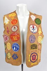 Vintage Indian Guides Suede Leather Vest Lots Of Patches Ymca Camp 1970's