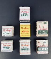 Durkee Lot Of 7 Vintage Spice Tin Cans Most Are 1/2 Full. Cans In Great Cond.