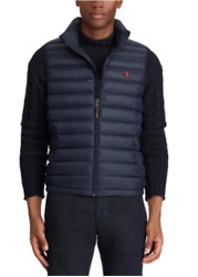 Polo Menand039s Down Pony Full Zip Packable Vest Navy Blue Size L Nwt ⭐️