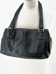 FOSSIL Black Pebbled Leather Medium BLACKBURN Satchel Bag Purse EUC $35.95