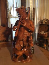 Wood Carved Folk Art Pan Flute/monkey/dog Statue Large 21 Tall And A Hefty 11lbs.