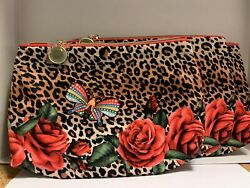 3 x ESTEE LAUDER Leopard Print Makeup Cosmetic Bag Travel ZIP $9.50