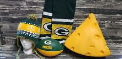 Green Bay Packers 4 Piece Lot Nerf Cheese Head Scarf Beanie