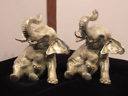 Vintage 1930 Jennings Brothers Silver Plated Elephant Book Ends 2671