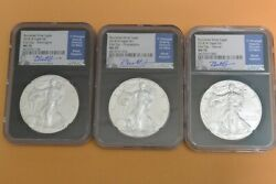 2018 W Burnished Silver Eagle Ngc Ms70 Jeppson First Day Of Issue Locations Set