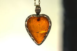 Fascinating Antique Georgian Gold Carved Amber Sacred Heart Charm Pendant C1700s