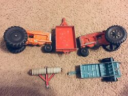 Vintage 60's Set Hubley Mighty Metal Farm Set Old Tractor Toy Lot