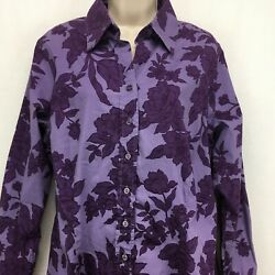 Coldwater Creek Womens 1x Button Front Shirt Purple Floral Long Sleeve