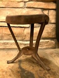 Antique Early 1900s Metal Cast Iron Dairy Milking Stool Star Cut Out Primitive