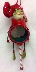 Katherine's Collection Frog Drum Peppermint Christmas Ornament 05-12493 Red