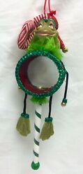 Katherine's Collection Frog Drum Peppermint Christmas Ornament 05-12493 Green