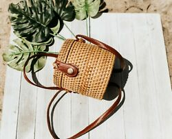 Bucket Shaped Mini Rattan Bag Straw Beach Bag Shoulder Bag $19.99
