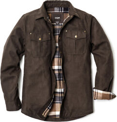Cqr Menand039s Flannel Lined Shirt Jackets Long Sleeved Rugged Plaid Cotton Shirt