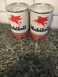 Vtg - 2 - Mobil Pegasus 1 Quart Oil Can Gas Oil -paper Label - Sealed And Empty