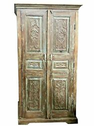 Antique Artistic Carved Cabinet, Rustic Blue Patina, Organic Accent Armoire