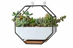VanEnjoy 7quot; White Ceramic Wall Planters Vase and CopperDrainage Hole with Bam...