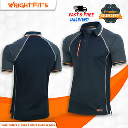 Men Workpolo Tshirt Core-active 2-tone Black And Grey Regular-fit Xxl