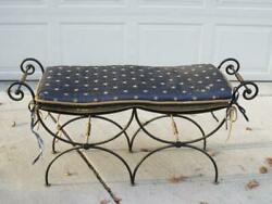 Ornate Antique Double Size Iron And Brass Bench=graceful Curves And Scroll Work