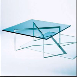 Barcelona Table 17 Tall By Knoll Sapphire Glass