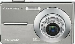 Olympus Fe360 8mp Digital Camera With 3x Optical Dual Zoomsilver + Accessories