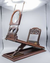 Antique - Victorian Parlor Stereo Graphoscope Stereoscope Roswell Burr Walnut