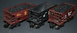 Group Of 3 K-line Ore Cars, Santa Fe Atsf, Southern Pacific Sp And Dmandir Missabe