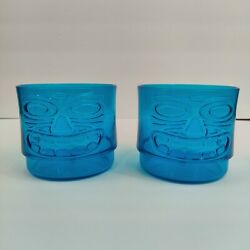 Plastic Clear Blue Tiki Head Cups Set Of 2, 13 Fl Oz, Stackable