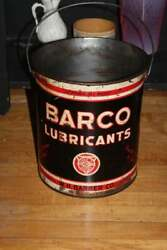 Large Barco Lubricants Can Vintage Red White And Blue Tin
