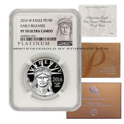 2016-w 100 Platinum Eagle Ngc Pf70ucam Early Releases 1oz Proof W/ Box And Coa