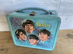 Vintage 1965 Beatles Lunchbox Blue Metal Aladdin Without Thermos Music Legends