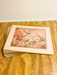 1960's Vintage Pimpernel Mats, Set Of 6, Matching Floral And Bird Placemats