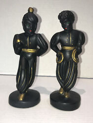 Pair Abco Mid Century Modern Chalkware Nubian Man And Woman Dancer Andrew Backer