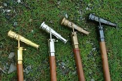 Antique Nautical 4 Pieces Top Brass Telescope Handle Walking Stick Collectible