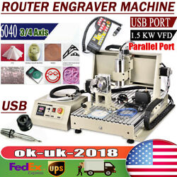 Cnc 6040 Usb 3/4 Axis Engraver 1.5kw Router 3d Drill Carving Cutting Machine Us