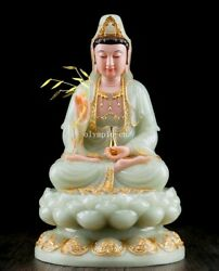 16'' White Marble Colored Drawing Consecrate Buddism Guanyin Avalokitesvara