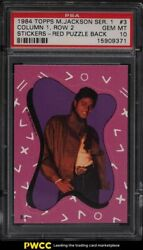 1984 Topps Michael Jackson Series 1 Stickers Red Puzzle Back 3 Psa 10 Gem Mint