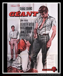 Giant James Dean 4x6 Ft French Grande Movie Poster Rerelease 1963