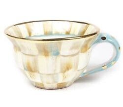 New Mackenzie-childs Parchment Check Ceramic Teacup - Discontinued