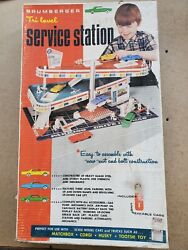 Brumberger Tri Level Service Gas Station Tin Lithograph Diorama Cars Toy Set