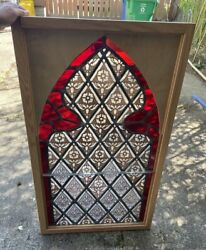 Antique True Stained Glass Church Window In New Wood Frame Red Glass Border
