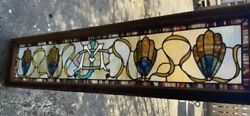 Antique Victorian Povey Attr. Monogrammed Stained And Gilt Came Glass Window