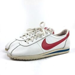 Vintage 1979 Nike Cortez Leather Running Shoe Size 8 Made In Usa White Red Blue