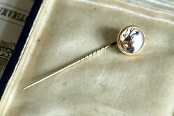 Amazing Tiny Antique English 18k Gold Essex Crystal Stickpin Capercaillie C1880