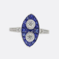Art Deco Style Sapphire And Diamond Navette Ring 18ct White Gold