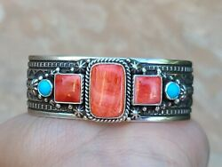 Sterling Silver Navajo Turquoisespiny Oyster Cuff Bracelet Signedhappy Piasso