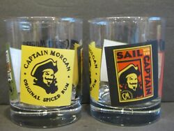 Captain Morgan Original Spiced Rum Set Of 2 Double Old Fashion Glasses 4.25